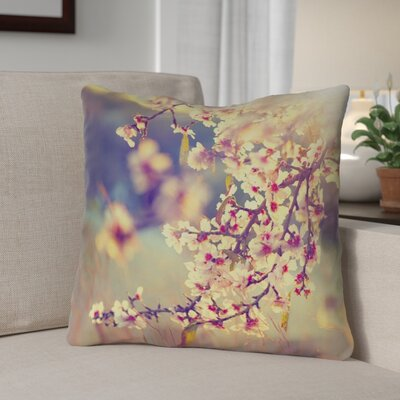 Ghost Train Cottage Cherry Blossoms Square Throw Pillow Size: 16 H x 16 W