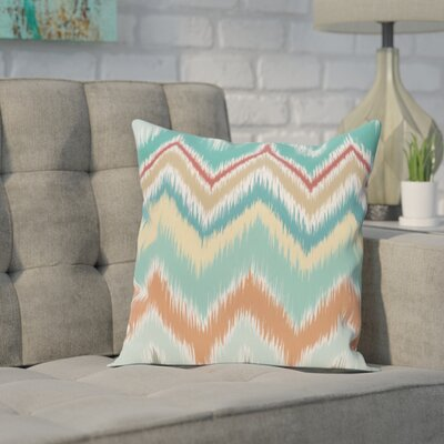 Brookeville Ikat Chevron Print Throw Pillow Size: 26 H x 26 W x 1 D, Color: Jade