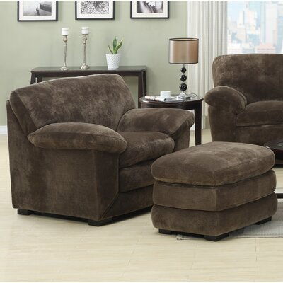 Woodrow Mocha Armchair and Ottoman