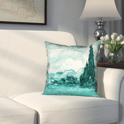 Woodlawn Wheatfield with Cypresses Outdoor Throw Pillow Size: 16 H x 16 W, Color: Teal
