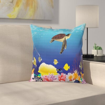 Deep Sealife Fish Moss Square Pillow Cover Size: 16 x 16