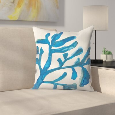 Jetty Printables Watercolor Seaweed Painitng 3 Throw Pillow Size: 14 x 14