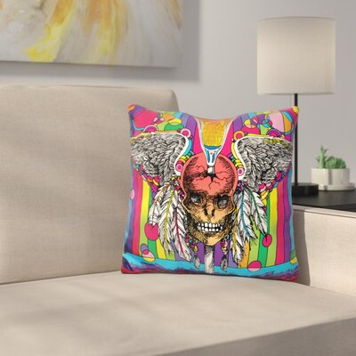 Skull Throw Pillow Color: Yellow