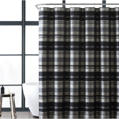 Heuer Stripe Shower Curtain Color: Gray/Black