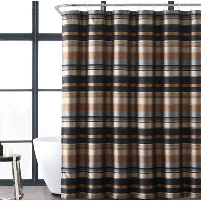 Heuer Stripe Shower Curtain Color: Taupe/Gold