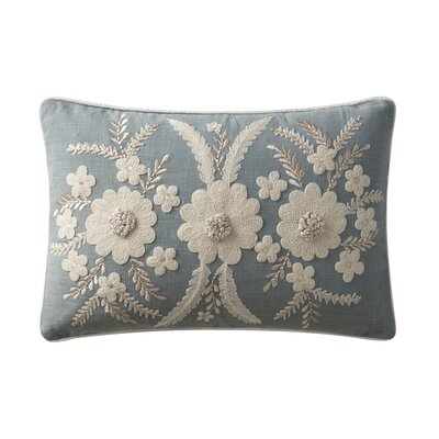 Lamb Embroidered Cotton Shell Throw Pillow Color: Blue