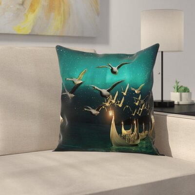 Fantasy Elf Boats Birds Swans Square Pillow Cover Size: 24 x 24