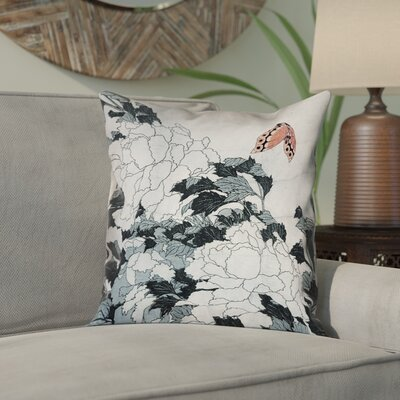 Clair Peonies with Butterfly Square Pillow Cover Color: Peach/Gray, Size: 14 x 14
