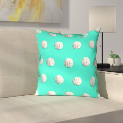 Volleyball Suede Pillow Cover Size: 18 x 18, Color: Teal