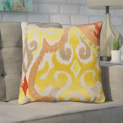 Chamberland Throw Pillow Size: 22 H x 22 W x 4 D, Color: Golden Yellow / Poppy Red, Filler: Down