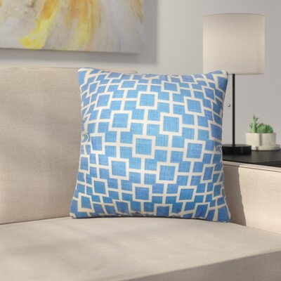 Leaston Rezendes Geometric Cotton Throw Pillow Color: Blue