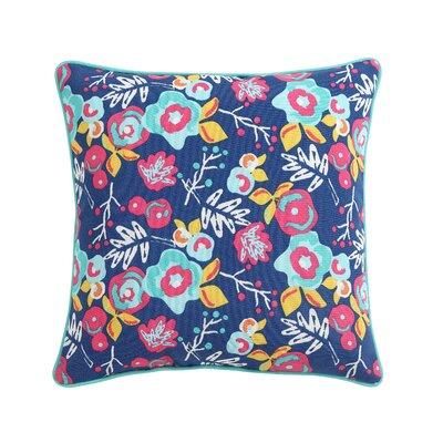 Clairebella Patio Floral Outdoor Throw Pillow Color: Blue