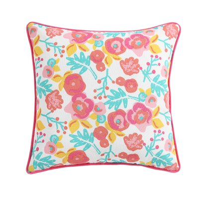Clairebella Patio Floral Outdoor Throw Pillow Color: Pink
