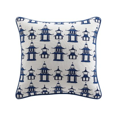 Clairebella Pagoda Chinoiserie Outdoor Throw Pillow Color: Blue