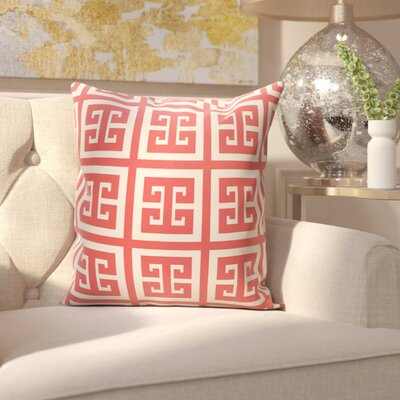 Croydon Geometric Decorative Outdoor Pillow Color: Coral, Size: 20 H x 20 W x 1 D