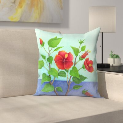 Hibiscus Throw Pillow Size: 14 x 14