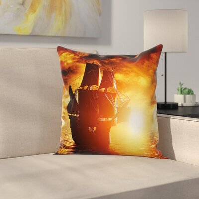 Pirate Ship Ancient Ship Sunset Square Cushion Pillow Cover Size: 24 x 24