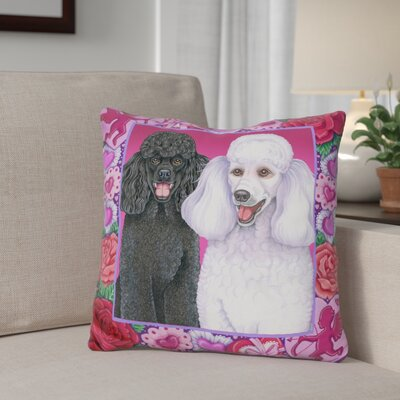 Gibbon Valentine Poodles Throw Pillow