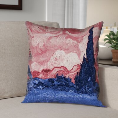 Lapine Wheatfield with Cypresses Throw Pillow Color: Red/Blue, Size: 16 x 16