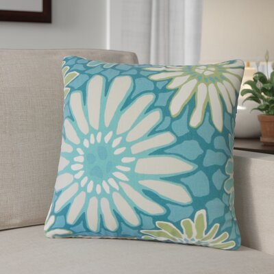 Calvary Floral Down Filled 100% Cotton Throw Pillow Size: 18 x 18, Color: Turquoise