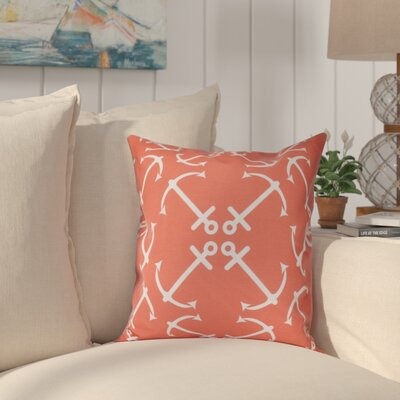Hancock Anchors Up Geometric Print Throw Pillow Size: 26 H x 26 W, Color: Orange