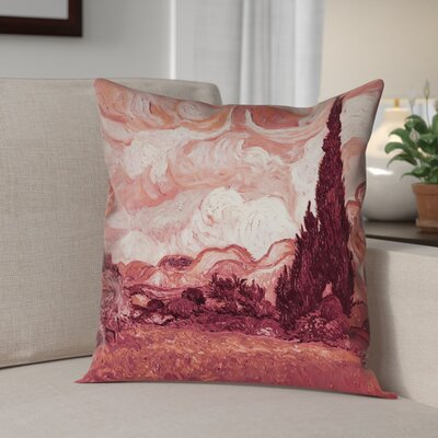 Lapine Wheatfield with Cypresses Throw Pillow Color: Red, Size: 18 x 18
