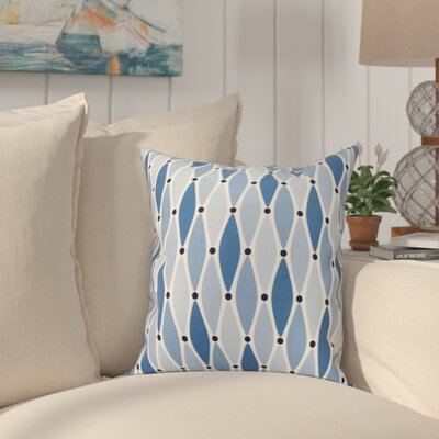 Boubacar Wavy Outdoor Throw Pillow Size: 18 H x 18 W, Color: Blue