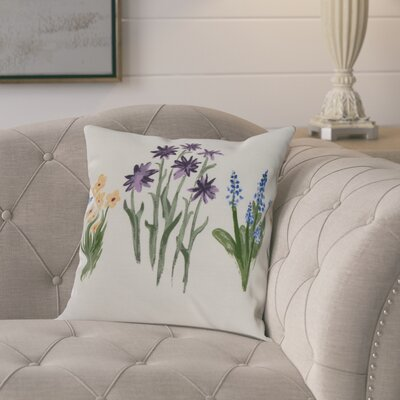 Kaylor Flower Trio Indoor/Outdoor Throw Pillow Color: Purple, Size: 16 x 16