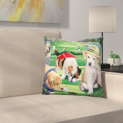 Golfing Puppies Throw Pillow