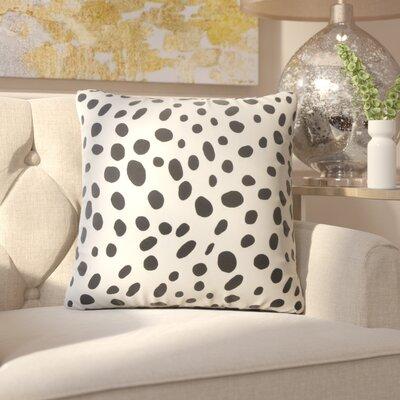 Chisley Polka Dot Down Filled 100% Cotton Throw Pillow Size: 18 x 18, Color: Black