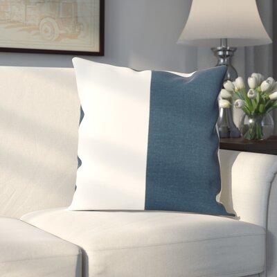 Gabriel Horizontal Stripe 100% Cotton Pillow Cover Color: Dusk Blue & OffWhite