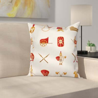 Warriors Icons Set Square Cushion Pillow Cover Size: 20 x 20