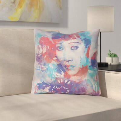 Watercolor Portrait Throw Pillow Size: 18 x 18