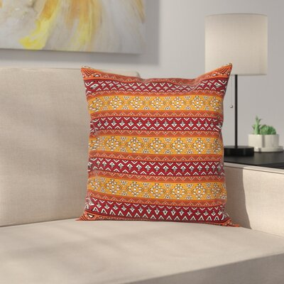Folkloric Tribal Square Pillow Cover Size: 18
