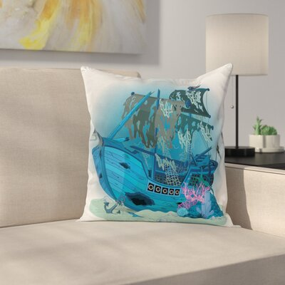 Pirate Ship Underwater Antique Square Cushion Pillow Cover Size: 18 x 18