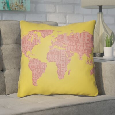 Bainum Square Throw Pillow Size: 18 H x 18 W x 4 D, Color: Yellow