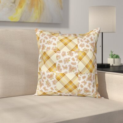 Paisley Decor Retro Patchwork Square Pillow Cover Size: 18 x 18