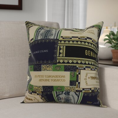 Warriner Cigar Box Collage Geometric Print Indoor/Outdoor Throw Pillow Color: Navy Blue, Size: 16 x 16