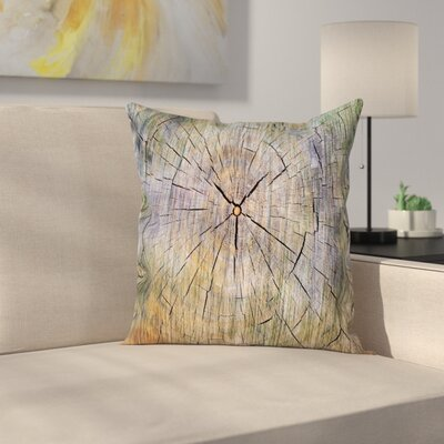 Rustic Cracked Wooden Texture Square Pillow Cover Size: 16 x 16