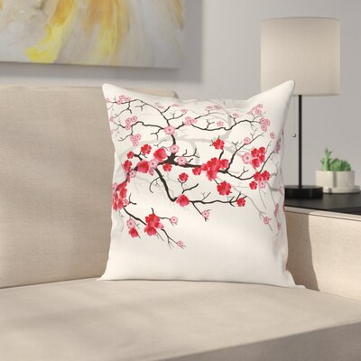 Japanese Blossom Bough Pillow Cover Size: 24 x 24