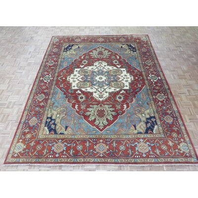 One-of-a-Kind Padro Heriz Hand-Knotted Wool Red/Blue Area Rug