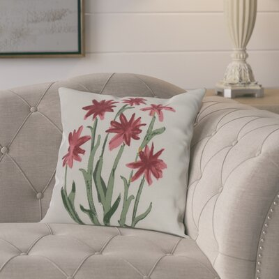 Kaylor Daffodils Indoor/Outdoor Throw Pillow Color: Rust, Size: 18 x 18