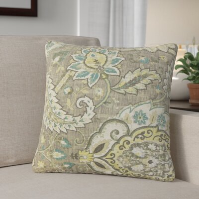 Fili Floral Linen Throw Pillow Color: Platinum