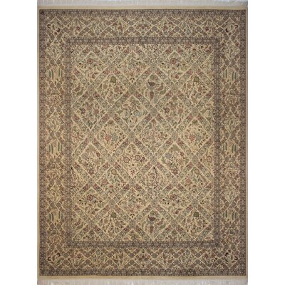 Canning Persian Hand-Knotted Wool Beige/Green Area Rug