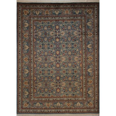 Canning Persian Hand-Knotted Wool Blue/Red Area Rug