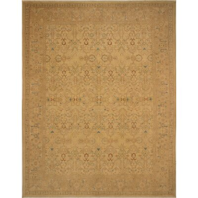 Branner Turkish Hand-knotted Wool Gold Area Rug