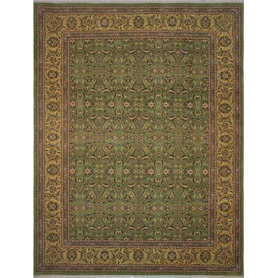 Branner Turkish Hand-Knotted Wool Green/Yellow Area Rug