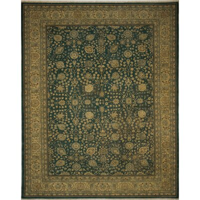 Branner Turkish Hand-Knotted Wool Green/Gold Area Rug