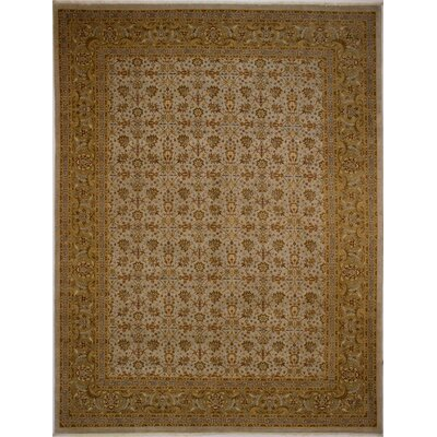 Branner Turkish Hand-Knotted Wool Green/Gray Area Rug