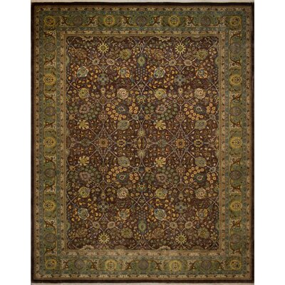 Branner Turkish Hand-Knotted Wool Brown/Green Area Rug